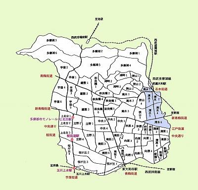 東大和市町名図清水地域