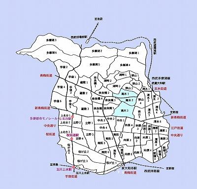 東大和市町名図高木地域