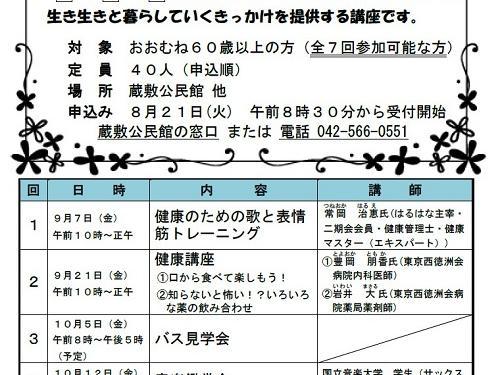 蔵敷公民館主催の「未・来・生倶楽部」 募集が始まる